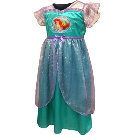 Princess Ariel Little Mermaid Satin Toddler Nightgown - Princess Gowns For Toddlers