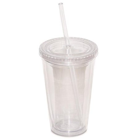 Debco DA7321 500 ml 17 oz Double Walled Tumbler with Straw, Clear - Pack of 12 - Clear Tumblers With Straws