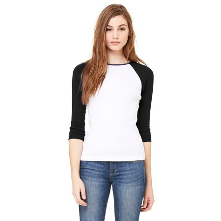 - Branded Bella + Canvas Ladies Baby Rib 3/4 Sleeve Contrast Raglan T-Shirt - WHITE/ BLACK - S (Instant Saving 5% & more on min 2)