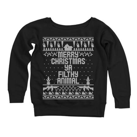 Home Merry Christmas Ya Filthy Animal X Large Black Womens Off Shoulder Sweatshirt