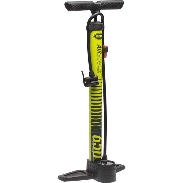 Bell Sports Air Attack 650 High-Volume Bicycle Floor Pump with Gauge, Yellow