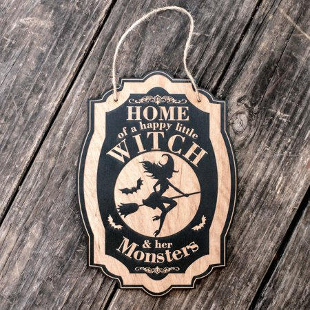 Home of a Happy Little Witch - Black Halloween Door Sign](Happy Halloween Door Sign)