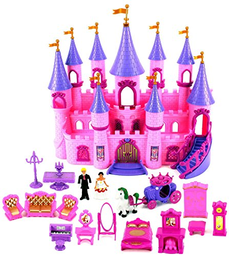 VT My Dream Castle 'Princess Wedding' Toy Doll Playset w/ Prince and Princess Figures, Horse Carriage, Castle Play House, Furniture, Accessories
