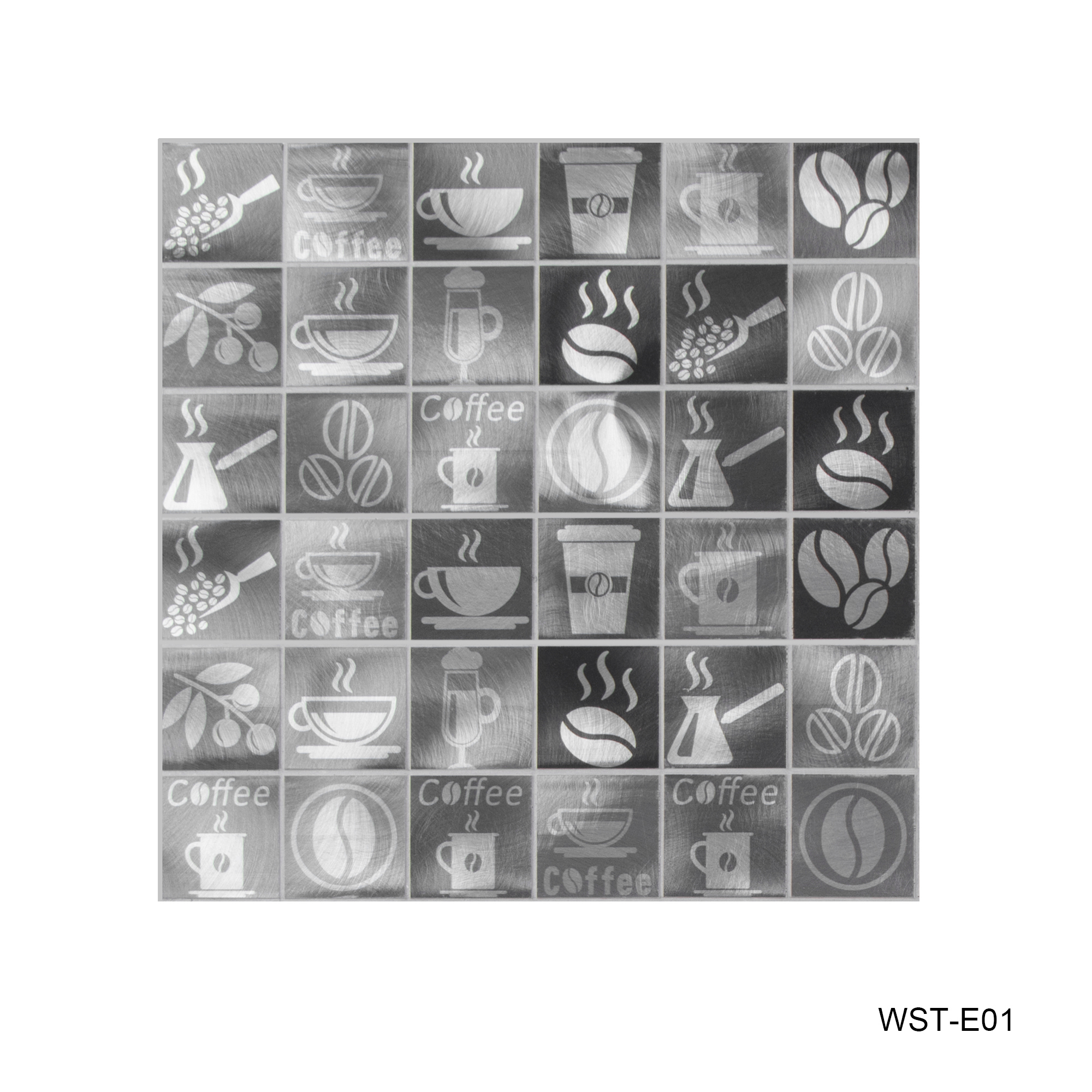 """Coffee Lovers Etched Art 2"""" x 2"""" Metal Mosaic Tile in Silver - 5 square feet carton"""