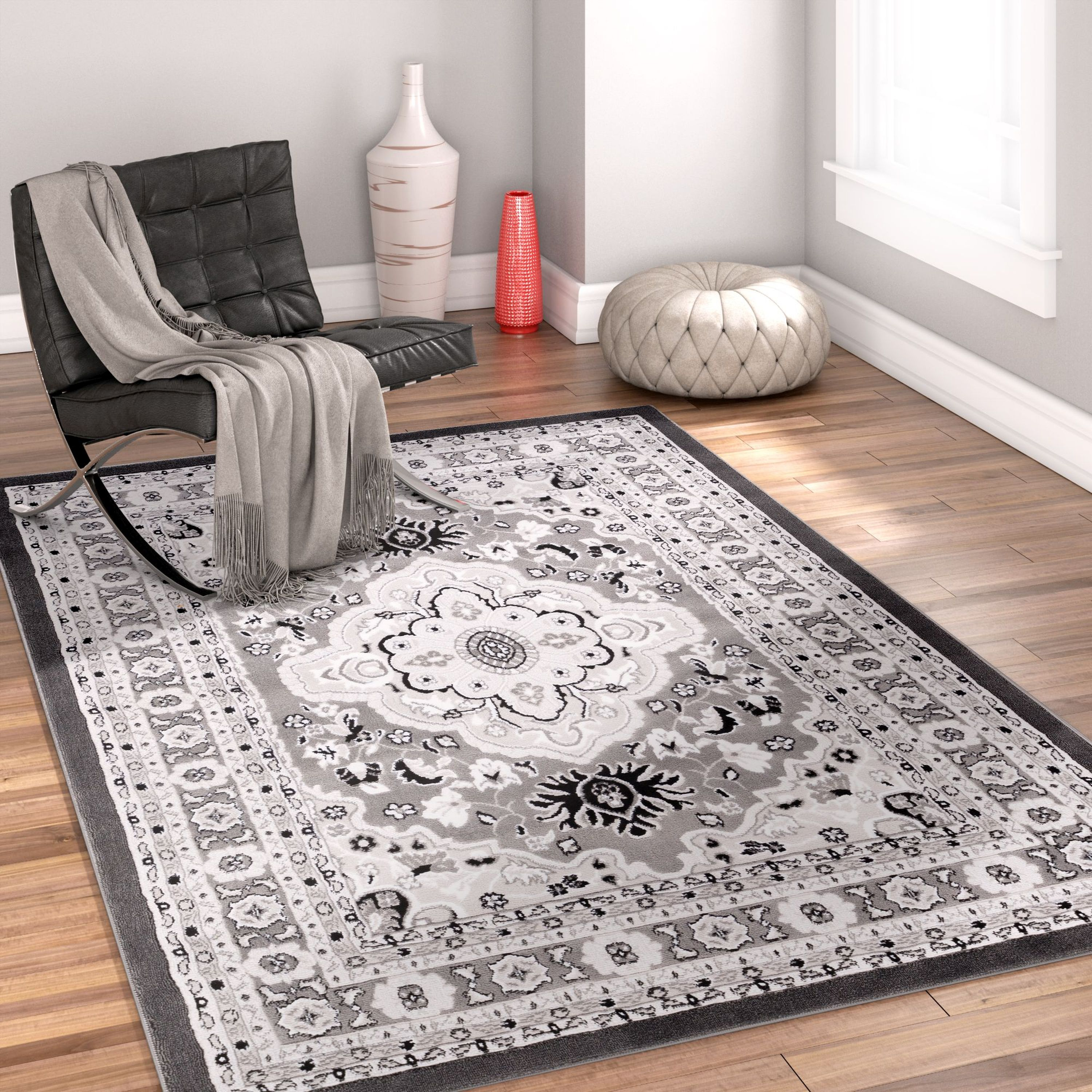 "Well Woven Dulcet Raja Traditional Medallion Grey 7'10"" x 9'10"" Area Rug"