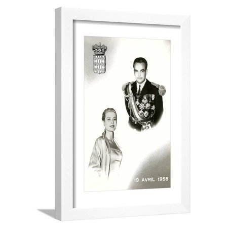 Prince Rainier III of Monaco and Grace Kelley Wedding Commemorative Framed Print Wall Art