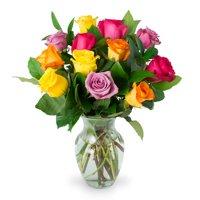 Rainbow Roses, One Dozen, Vase Included