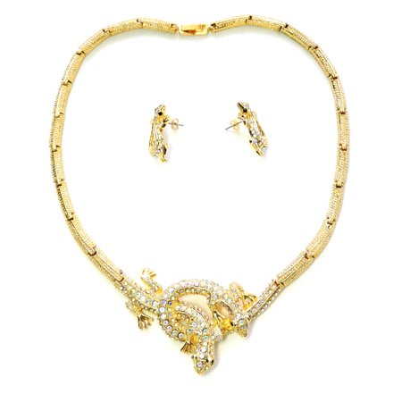 - Faship Clear Ab Rhinestone Crystal Gecko Necklace And Earrings Set
