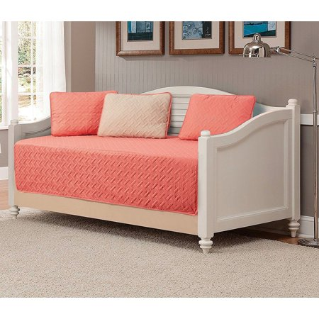 Fancy Linen 5pc Bedspread DayBed Solid Embossed Coral/Beige New