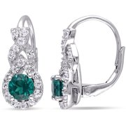1-3/4 Carat T.G.W. Created Emerald and Created White Sapphire Sterling Silver Infinity Leverback Earrings