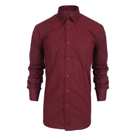Lee Hanton Men's Long Sleeve Spread collar Button Down Dress - Roundtree & Yorke Point Collar Dress Shirt