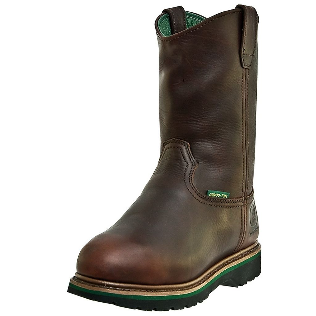 John Deere Work Boots Mens Leather MET Steel Toe Dark Brown JD4373 by John Deere