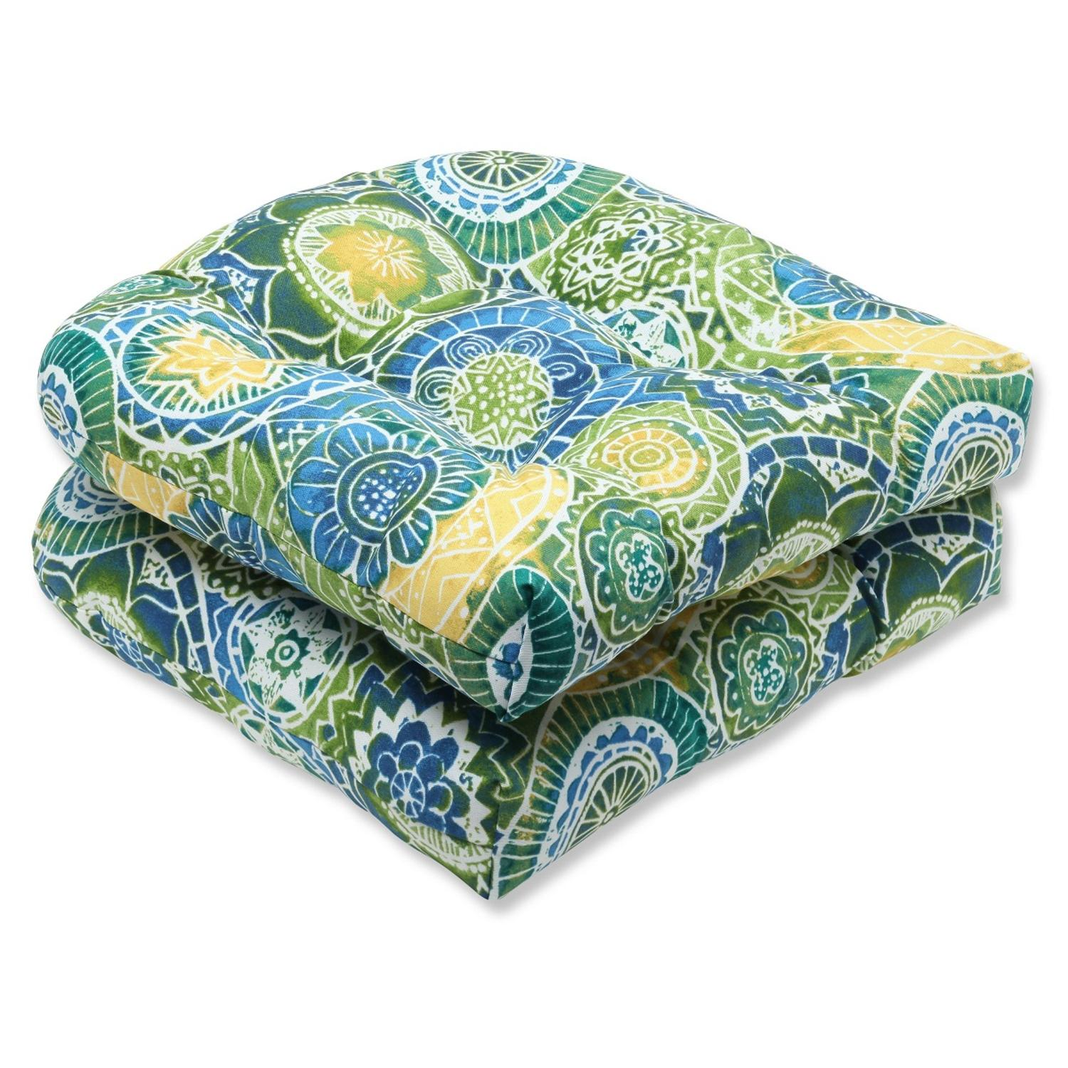 Set of 2 Laguna Mosaico Blue, Green and Yellow Outdoor Patio Wicker Chair Cushions 19""