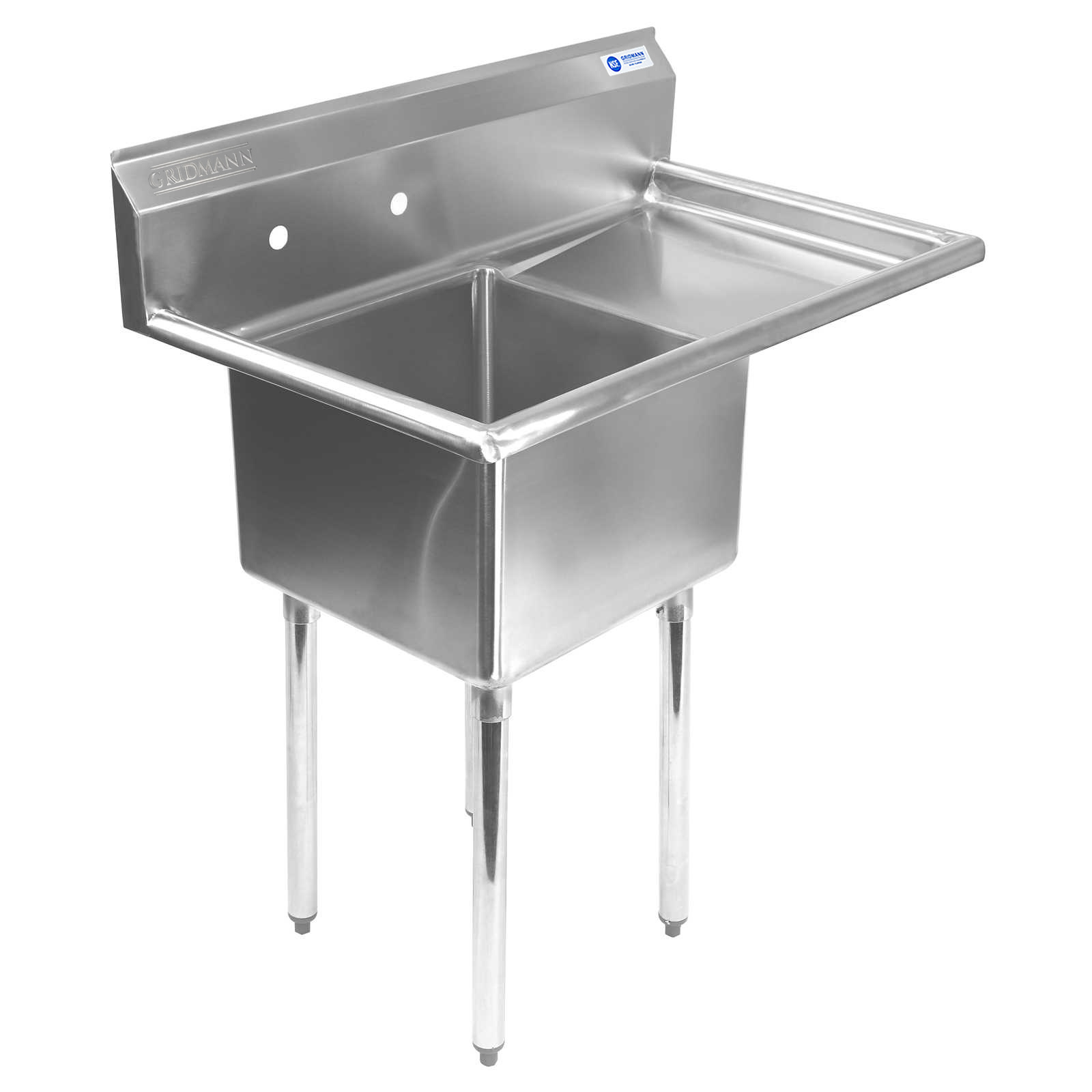 Gridmann 1 Compartment NSF Stainless Steel Commercial Kitchen Prep U0026  Utility Sink W/ Drainboard