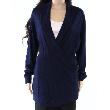 INC NEW Deep Blue Womens Size XL Shawl-Collar Surplice Tunic Sweater