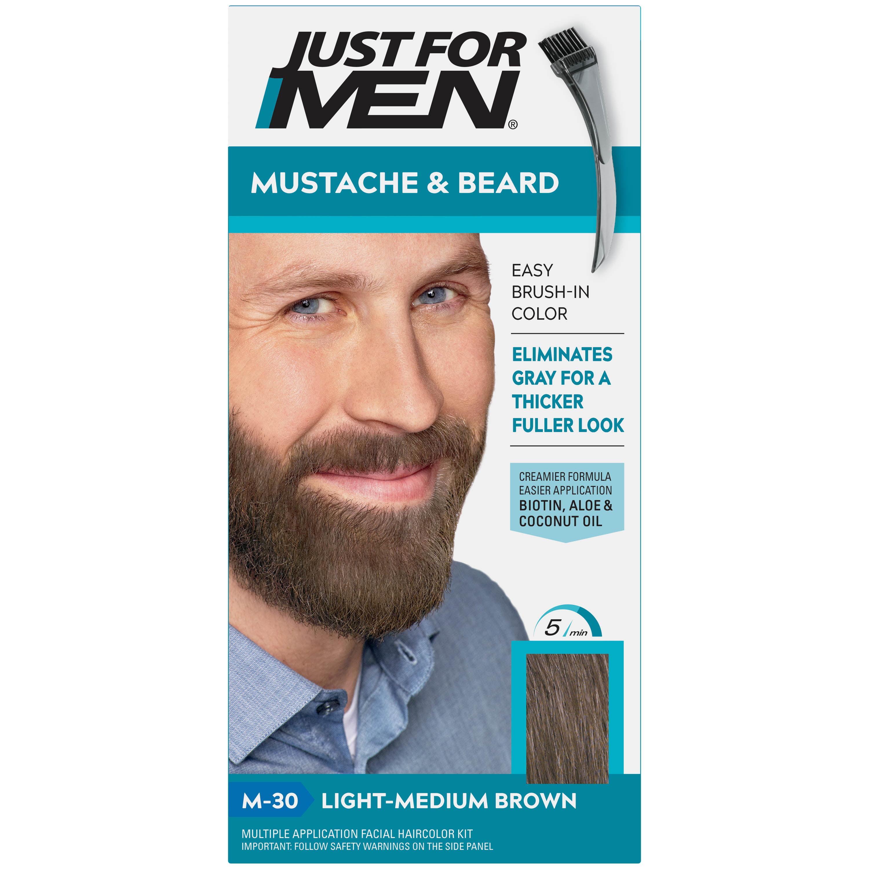 Just For Men Mustache Beard Beard Coloring For Gray Hair With Brush Included Light Medium Brown M 30 Walmart Com Walmart Com