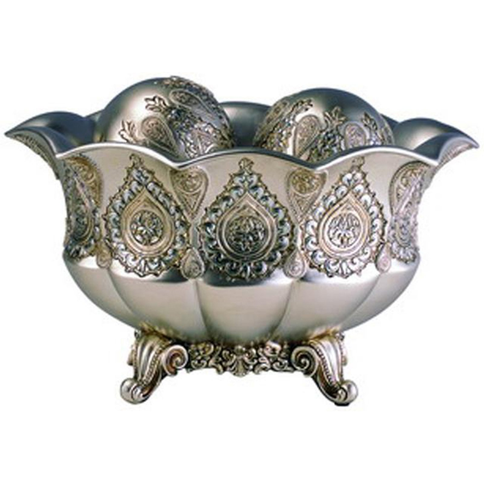 Ore International Traditional Royal Silver & Gold Metallic Decorative Bowl with Spheres - 7H in.