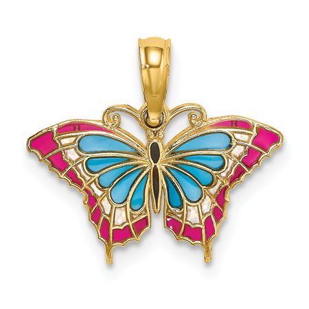 14k Yellow Gold Small Stained Glass Blue & Red Butterfly Charm (Yellow Butterfly Stained Glass)