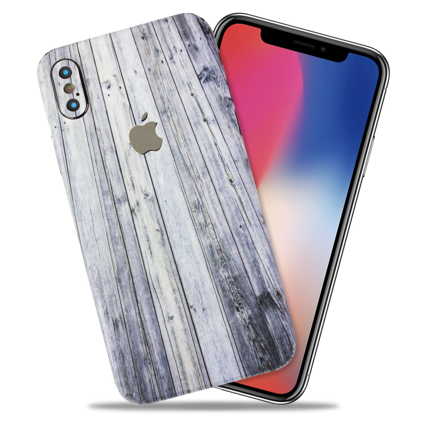 Aged Wood Texture Protective Skin Decal for Apple iPhone X Vinyl Wrap Cover [Back 1-PK & Camera 4-PK] by GolemGuard