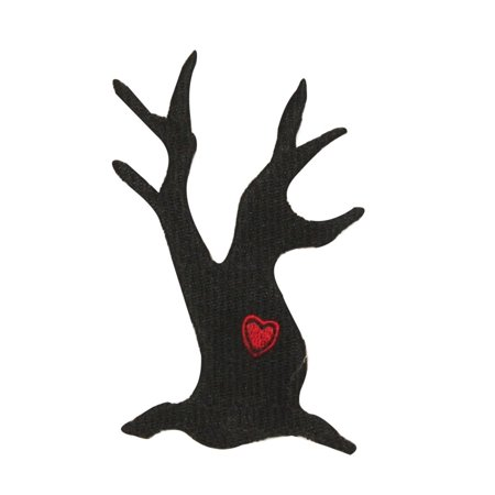 ID 0869 Black Tree Silhouette Patch Halloween Scary Embroidered Iron On Applique - Iron On Halloween Appliques