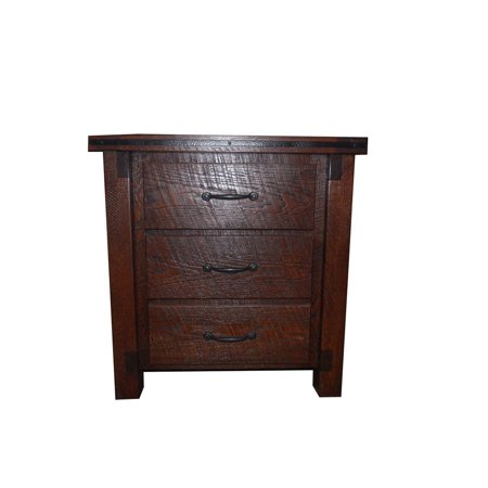 Kunkle Holdings Llc Rough Cut Red Oak 3 Drawer Night Stand  Amish Made
