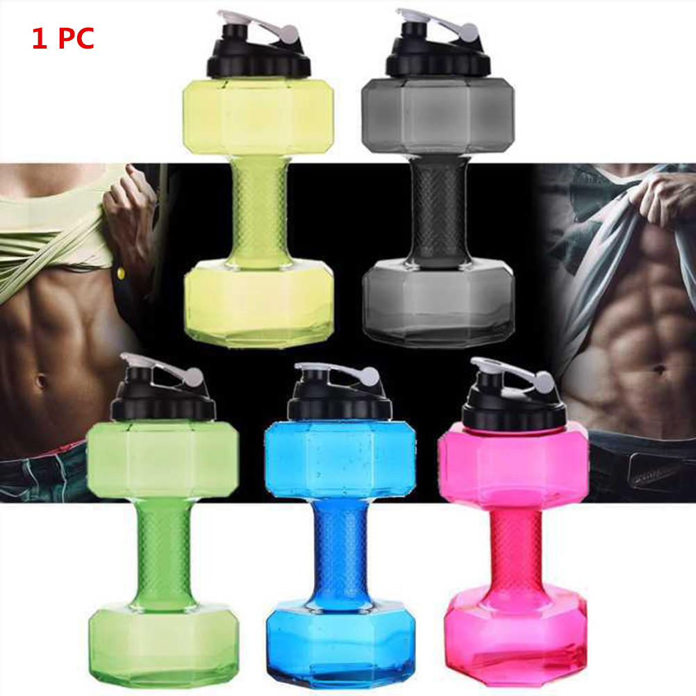 US NEW Dumbbell Shape Gym Sport Water Drink Cup Bottle Fitness Exercise xb