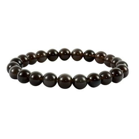 Shop LC Delivering Joy Stylish Unique Black Obsidian Bead Stretch Bangle Bracelet Mothers Day Gifts Jewelry for Women Obsidian Bead Bracelet