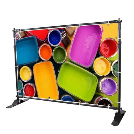 Telescopic Banner Stand 8'x8' Step and Repeat Adjustable Photographic Back Ground Expanding Display for Party Trade Show Exhibitions Wall (Back Banner Stand)