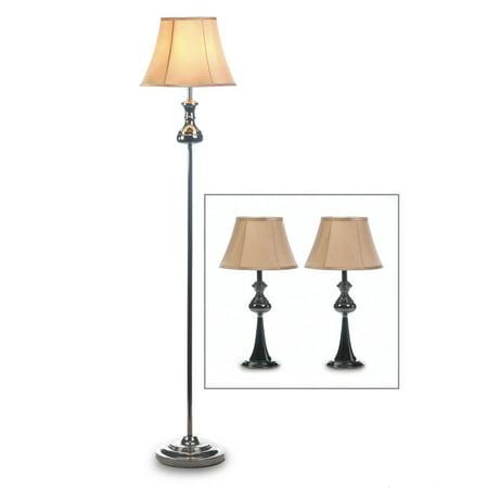 Bedroom Lamps Set, Metal Modern Black Bright Table Lamps Set Of 3 For Desk