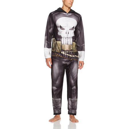 Small Thermal - Marvel Men's Punisher Hooded Union Suit, Sleek Black, Size: Small