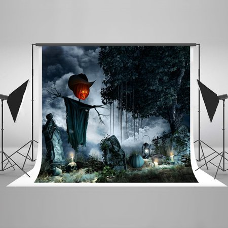 HelloDecor Polyster 7x5ft Happy Halloween Evil Pumpkins Party Decorations Photography Backdrop Photo Booth Background - Halloween Streamer Backdrop
