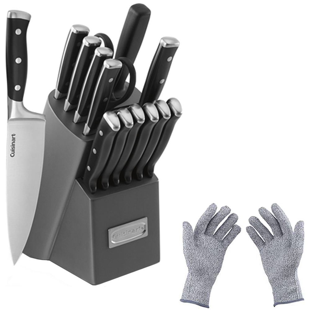 Cuisinart Triple Rivet Collection 15-Piece Knife Block Set, Grey (C77TR-15PB) with Protective Safety Gloves