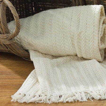 Park Designs Cable Throw Blanket, Choice of Cream or (Crib Throw Cream)