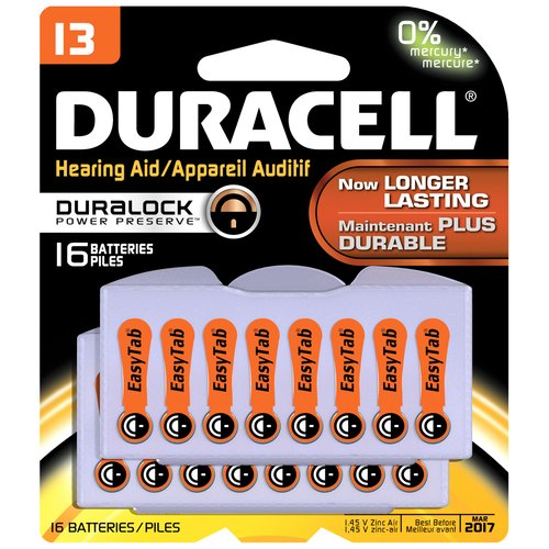 Duracell Easy Tab Hearing Aid Batteries, Size, 13, 16 count