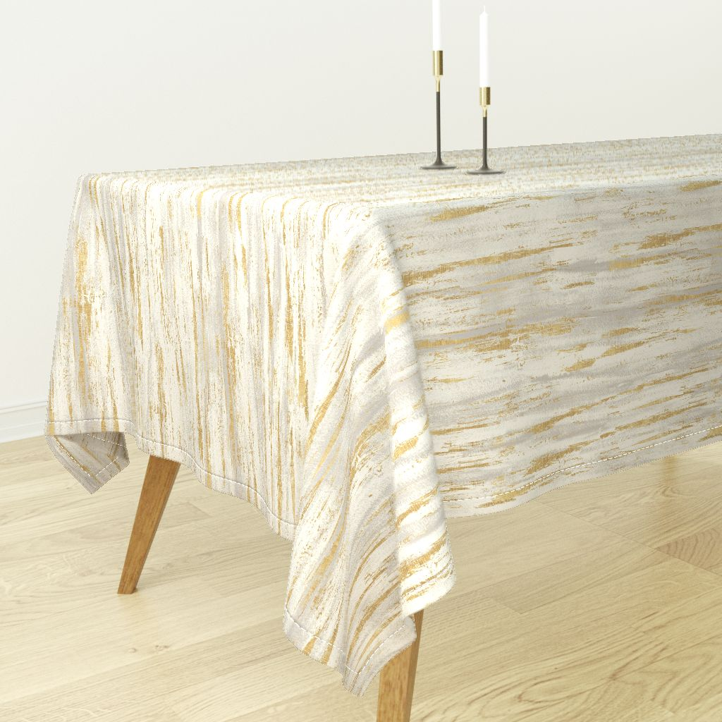 Tablecloth Gold Birch Texture Gray Neutral Cotton Sateen