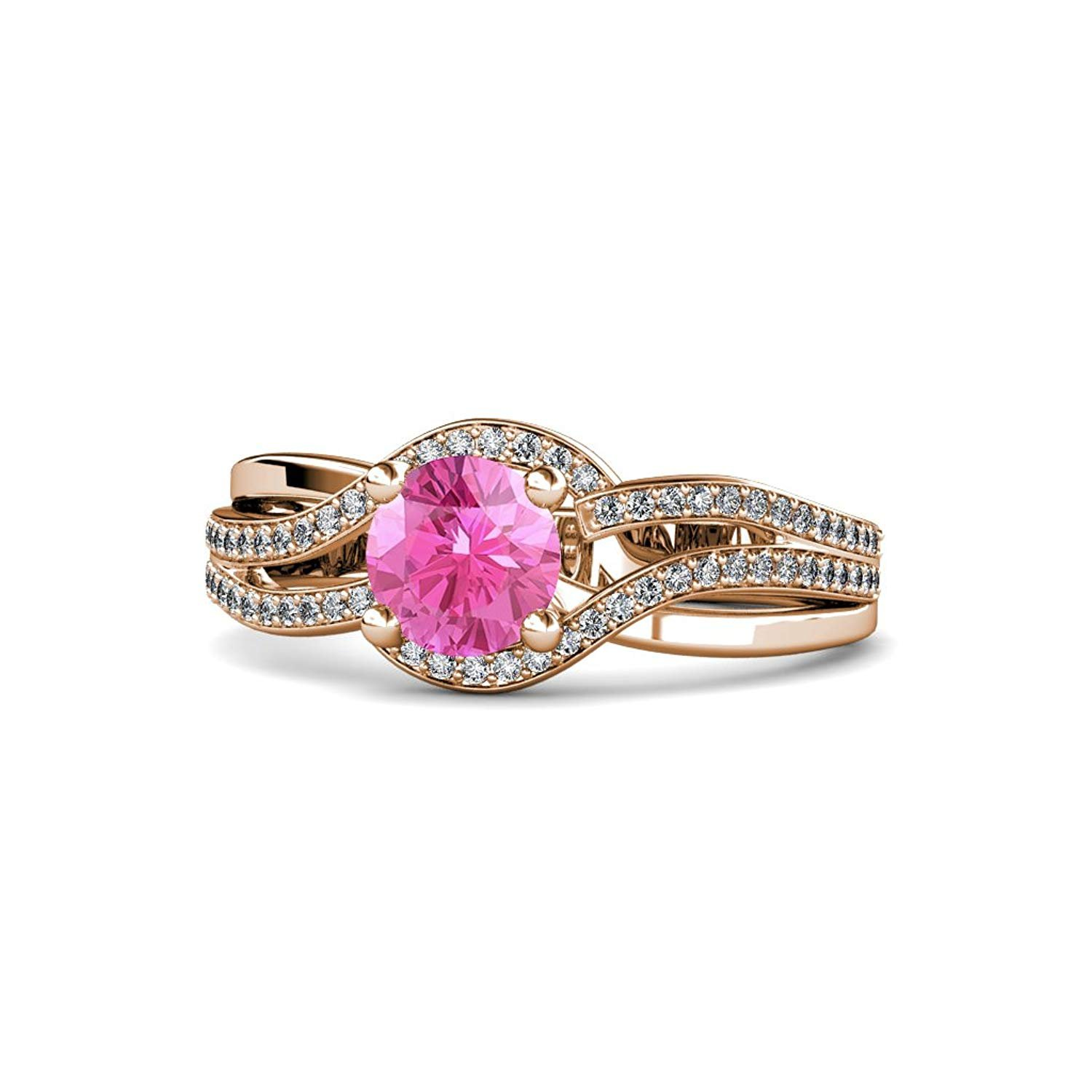 Pink Sapphire and Diamond Bypass Halo Swirl Engagement Ring 1.26 ct tw in 14K Rose Gold by TriJewels