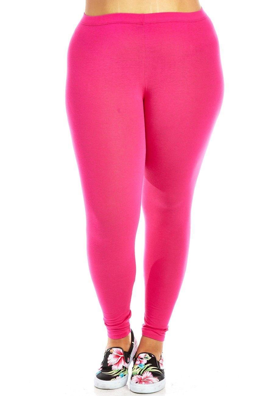 Womens Plus Size Comfy Basic Cotton Blend Plain Color Long Leggings XB4003-XL-Black