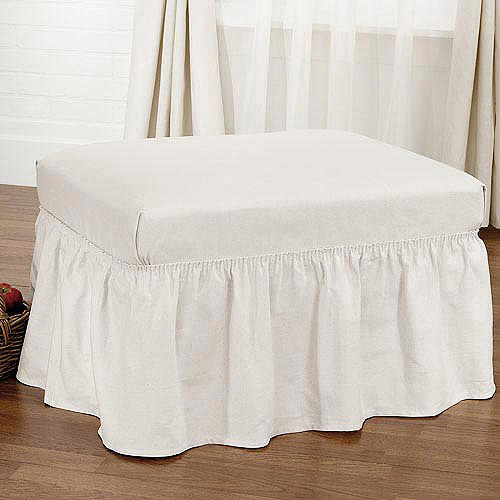Sure Fit Cotton Duck Ottoman Slipcover