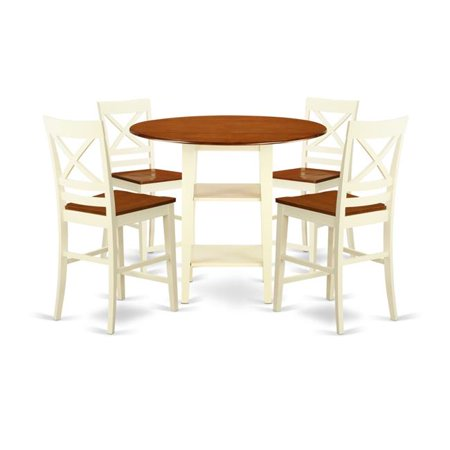 East West Furniture Sudbury 5 Piece Double Drop Leaf Dining Table Set With Cross Back Chairs