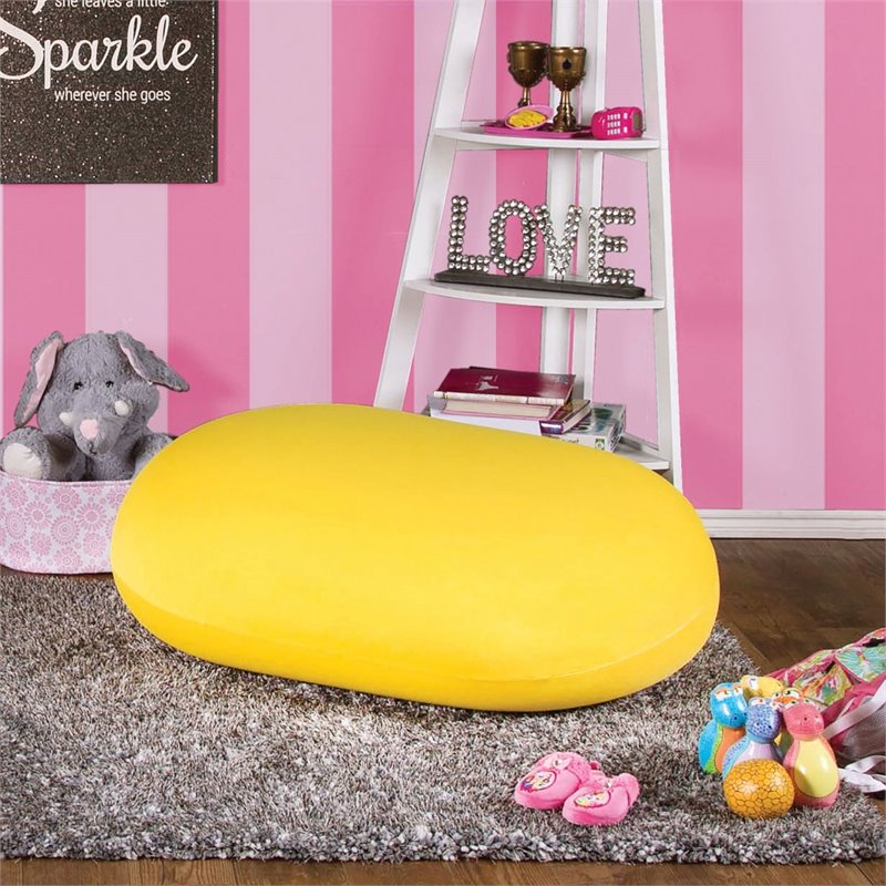 Furniture of America Zoomas Expandable Bean Bag Chair in Yellow
