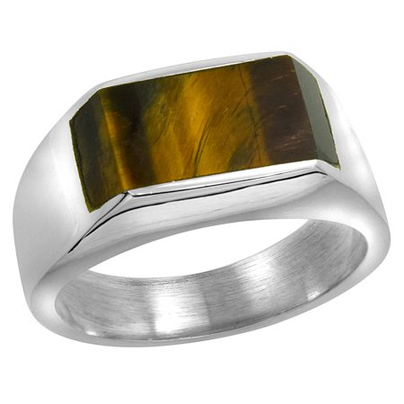 Sterling Silver Tiger Eye Ring for Men Slim Rectangular Flat Solid Back Handmade, sizes 9 - -