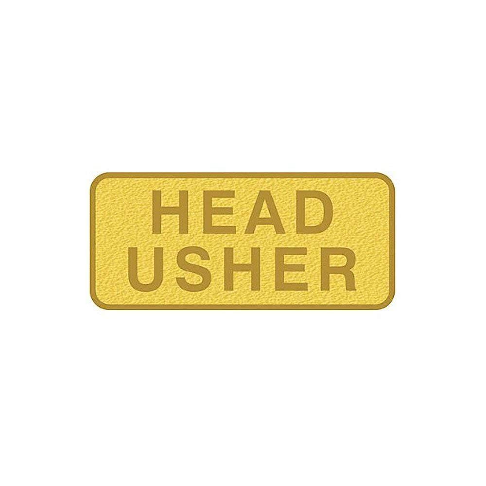 Badge-Usher-Pin Back-Rectangle-Brass