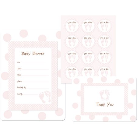 girl feet baby shower invitation and favor box kit