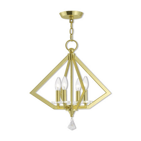 World of Crystal Moscow Mini Chandeliers Polished Brass Steel 4-light