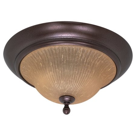 "Nuvo Lighting 60011 - 2 Light (Medium Screw Base) 16"" Moulan Flush Mount Copper Bronze Finish with Champagne Linen Washed Glass Ceiling Light Fixture (60-011)"