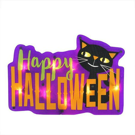 Northlight Seasonal ''Happy Halloween'' Sign with Cat 10 Light Lighted Window Decor - Happy Halloween Lied