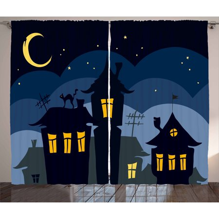 Halloween Curtains 2 Panels Set, Old Town with Cat on the Roof Night Sky Moon and Stars Houses Cartoon Art, Window Drapes for Living Room Bedroom, 108W X 108L Inches, Black Yellow Blue, by Ambesonne