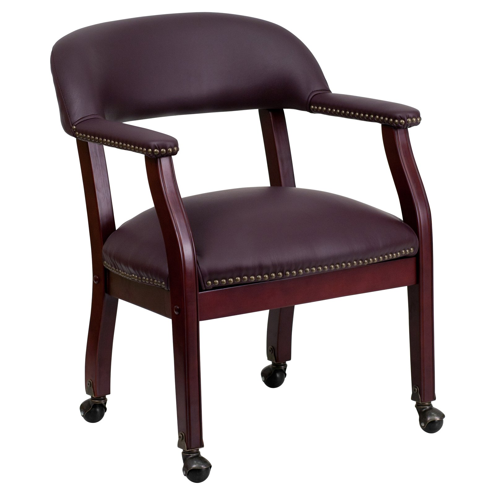 Flash Furniture Top Grain Leather Conference Room Chair with Casters