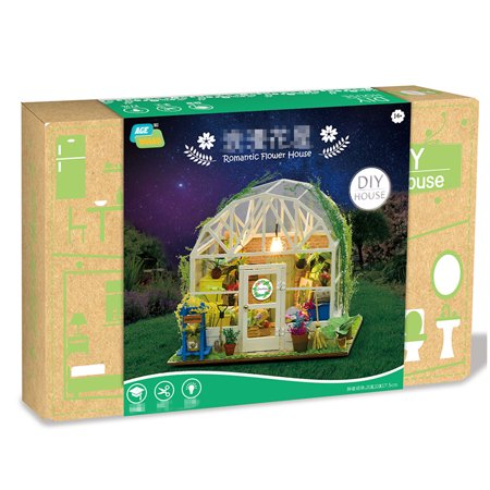 DIY Dollhouse Wooden Miniature Furniture Kit Mini Green House Flower House with LED Birthday Gifts for Children Girls Women - image 7 of 7