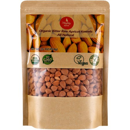 Organic Bitter Apricot Seeds (1LB) 16oz, Organic Bitter Apricot Kernels, Natural Raw USDA Organic Bitter Apricot Seeds, Vegan, Non-GMO, Gluten Free, Great source of Vitamin B17 and B15 ()